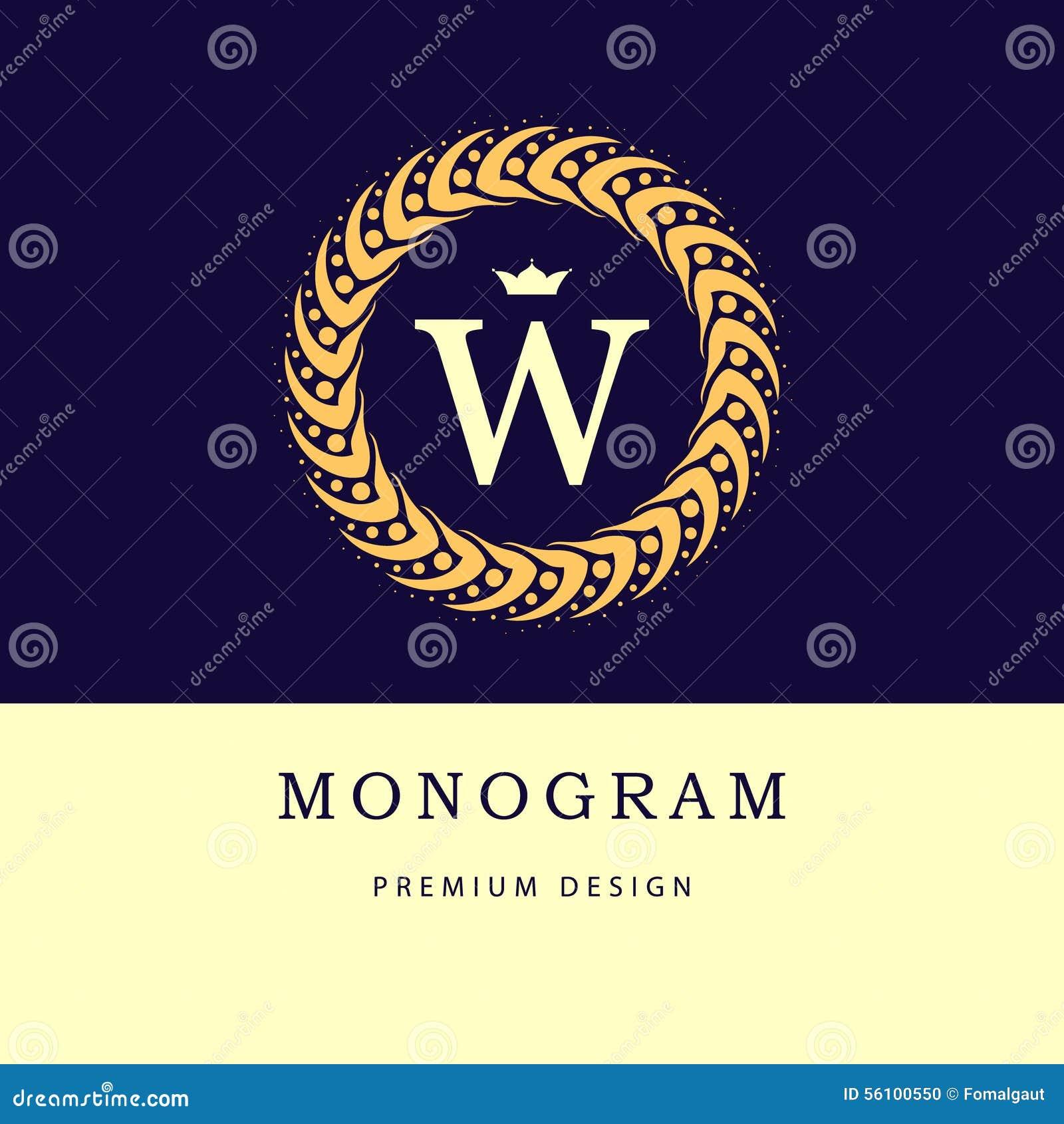 Элементы дизайна вензеля, грациозно шаблон Элегантная линия дизайн логотипа искусства письмо w Ретро винтажные Insignia или логот