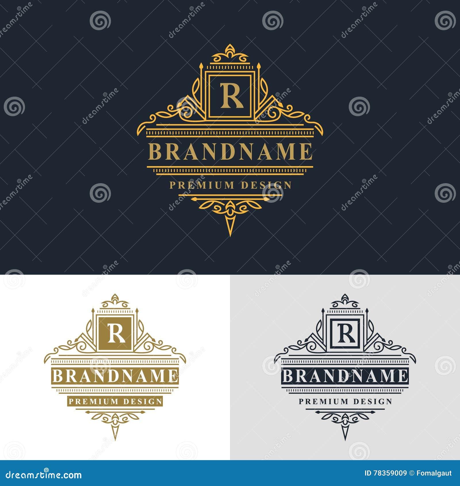 Элементы дизайна вензеля, грациозно шаблон Элегантная линия дизайн логотипа искусства красивейшая рамка Письмо r для ресторана, w