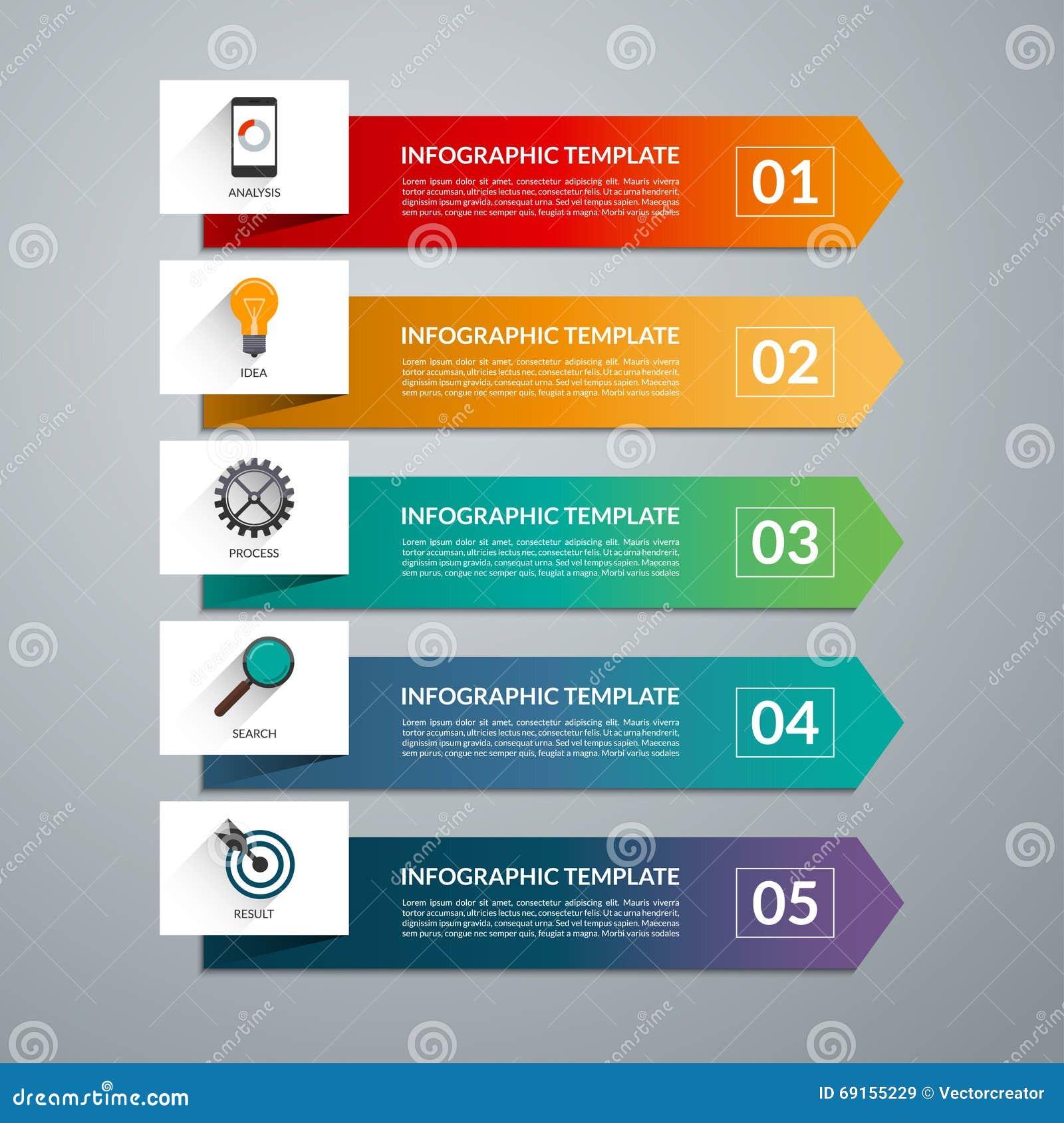 Элементы дизайна стрелки для infographics дела 5 вариантов, шаги, части