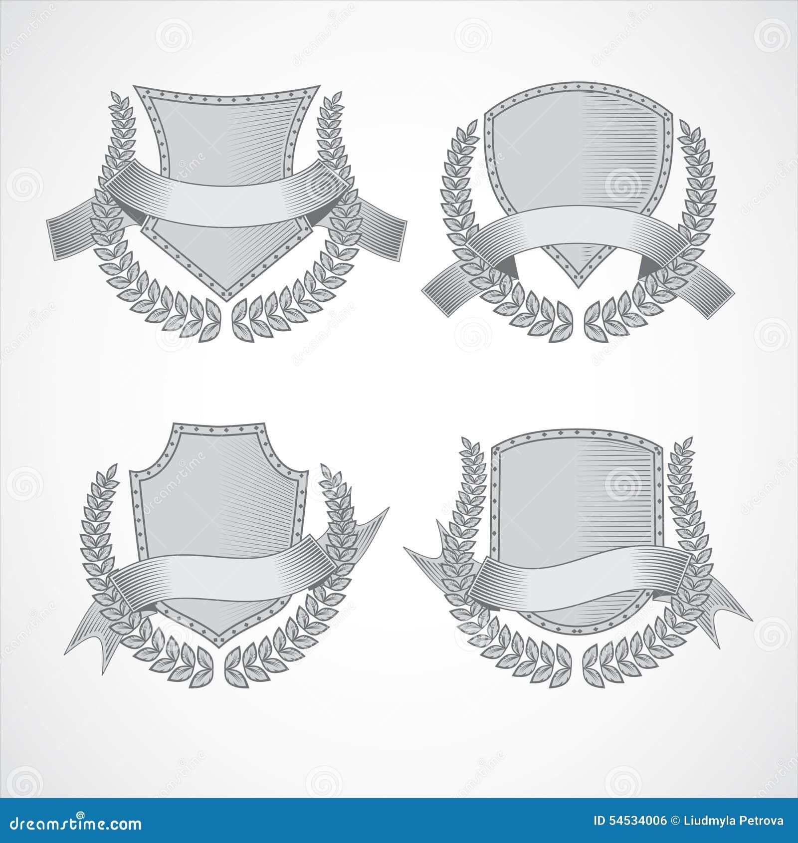 элементы конструкции предпосылки 4 снежинки белой Комплект вектора экранов с лавром