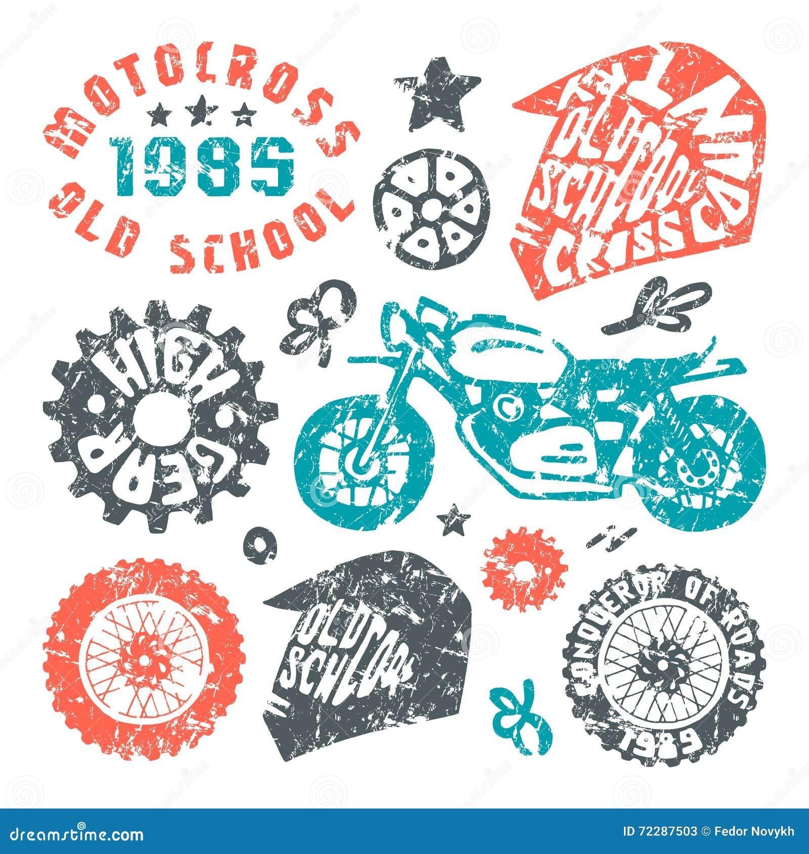 Download Элементы мотоциклинга в нарисованном вручную стиле Иллюстрация вектора - иллюстрации насчитывающей привод, ретро: 72287503