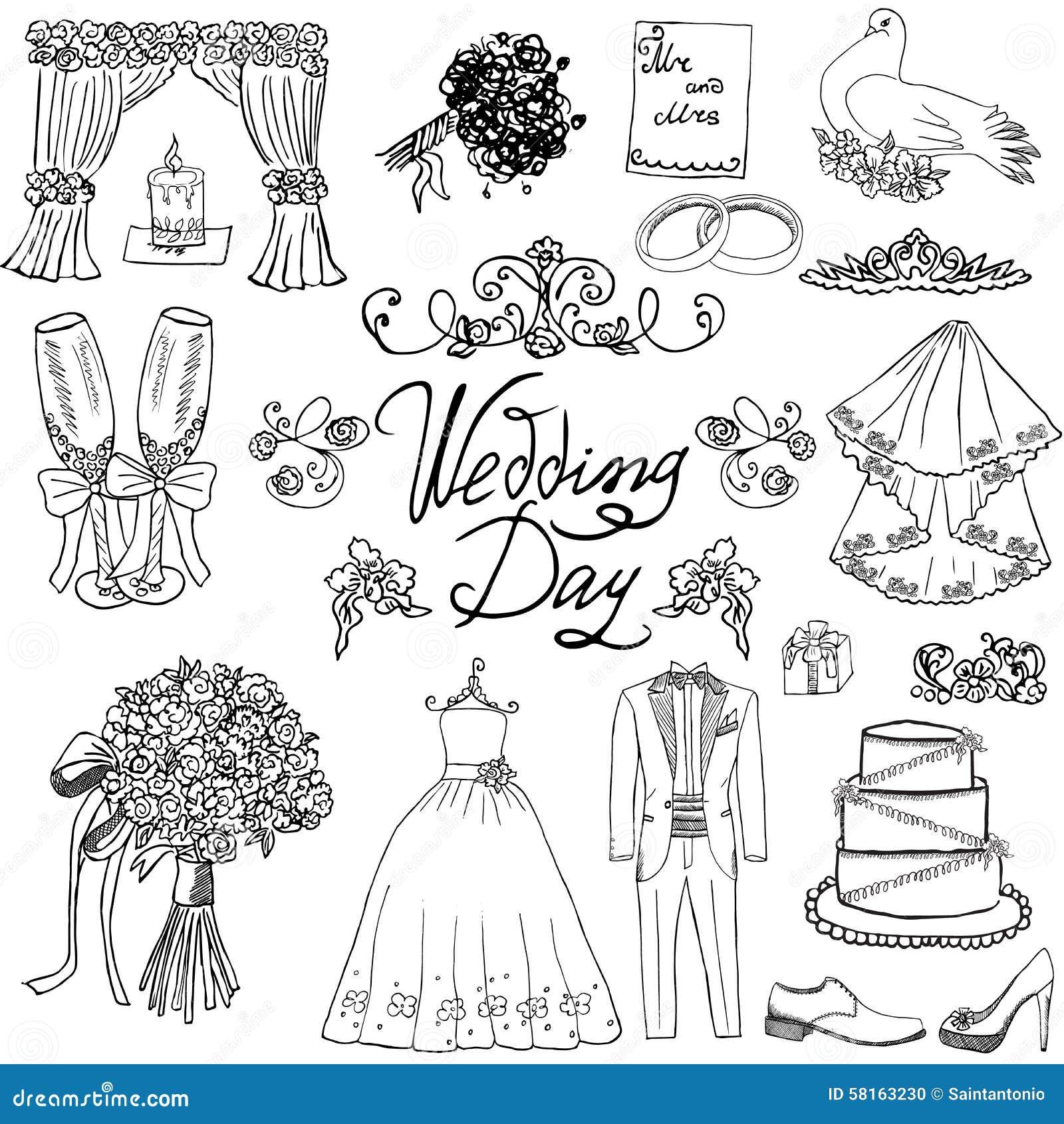 Элементы дня свадьбы Комплект нарисованный рукой с костюмом платья и смокинга невесты свечи цветков, ботинками, стеклами для Шамп