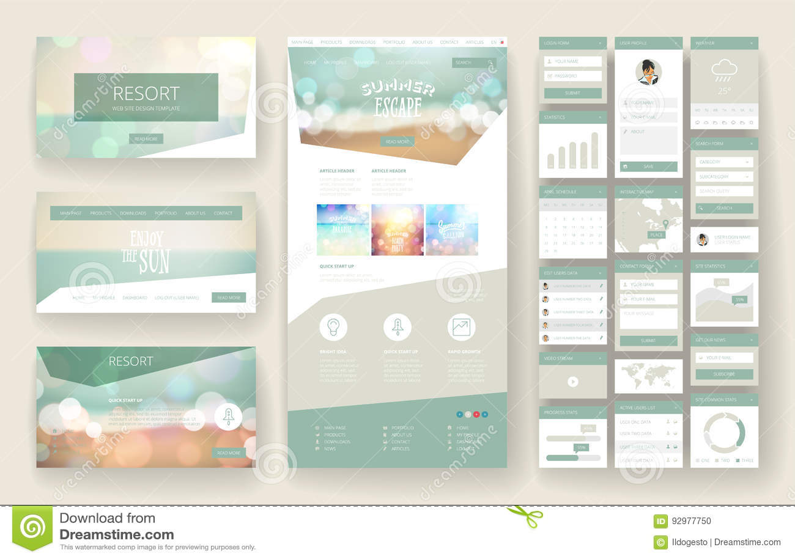 Элементы шаблона и интерфейса дизайна вебсайта