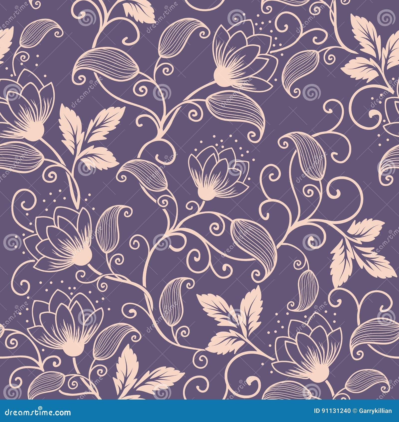 Элемент картины цветка вектора безшовный Элегантная текстура для предпосылок Классический роскошный старомодный флористический ор