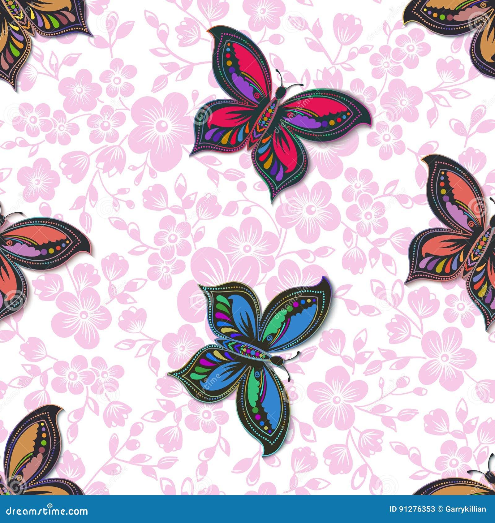 Элемент картины цветка Сакуры вектора безшовный С бабочкой и цветками Цветение вишни