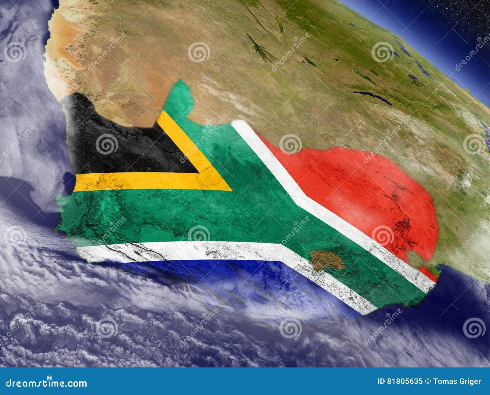 Южная Африка с врезанным флагом на земле