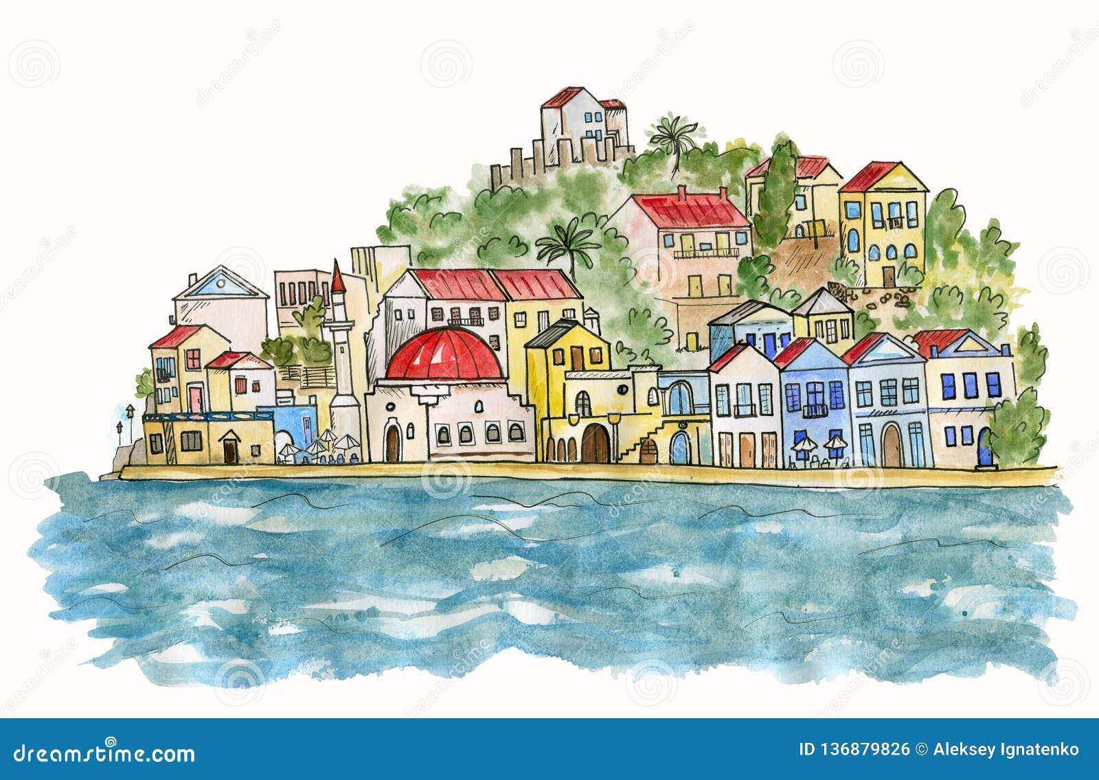 Южный город морем изображение иллюстрации летания клюва декоративное своя бумажная акварель ласточки части