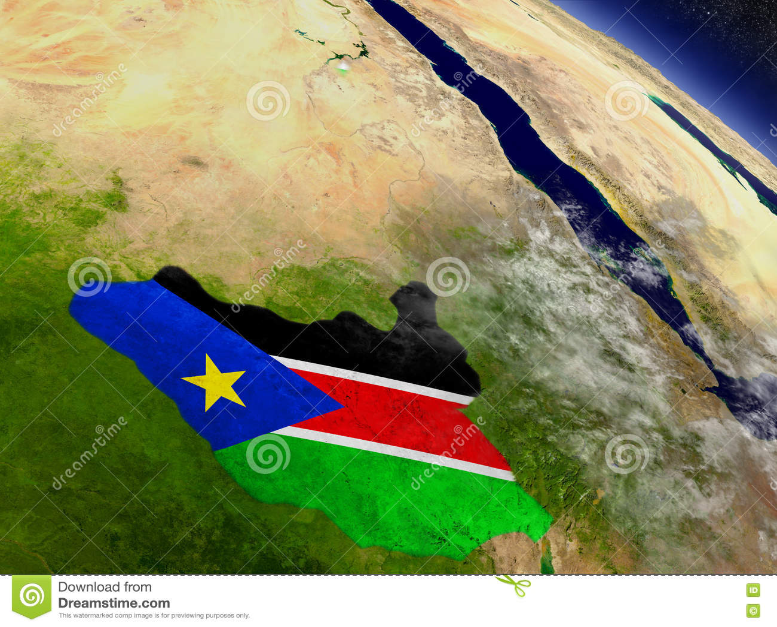 Южный Судан с врезанным флагом на земле