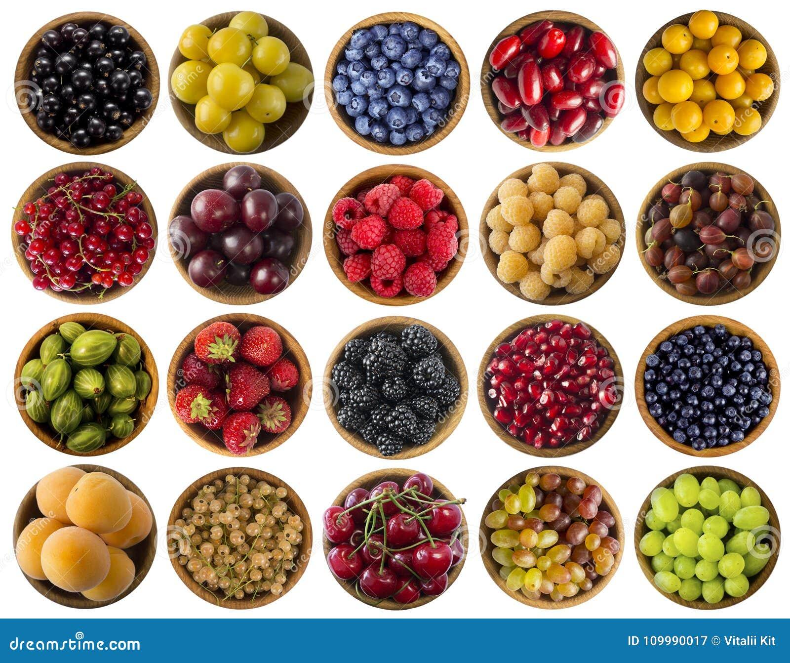 ягоды изолировали белизну Коллаж плодоовощей и ягод других цветов Плодоовощи и ягоды в шаре на белой предпосылке Помадка a