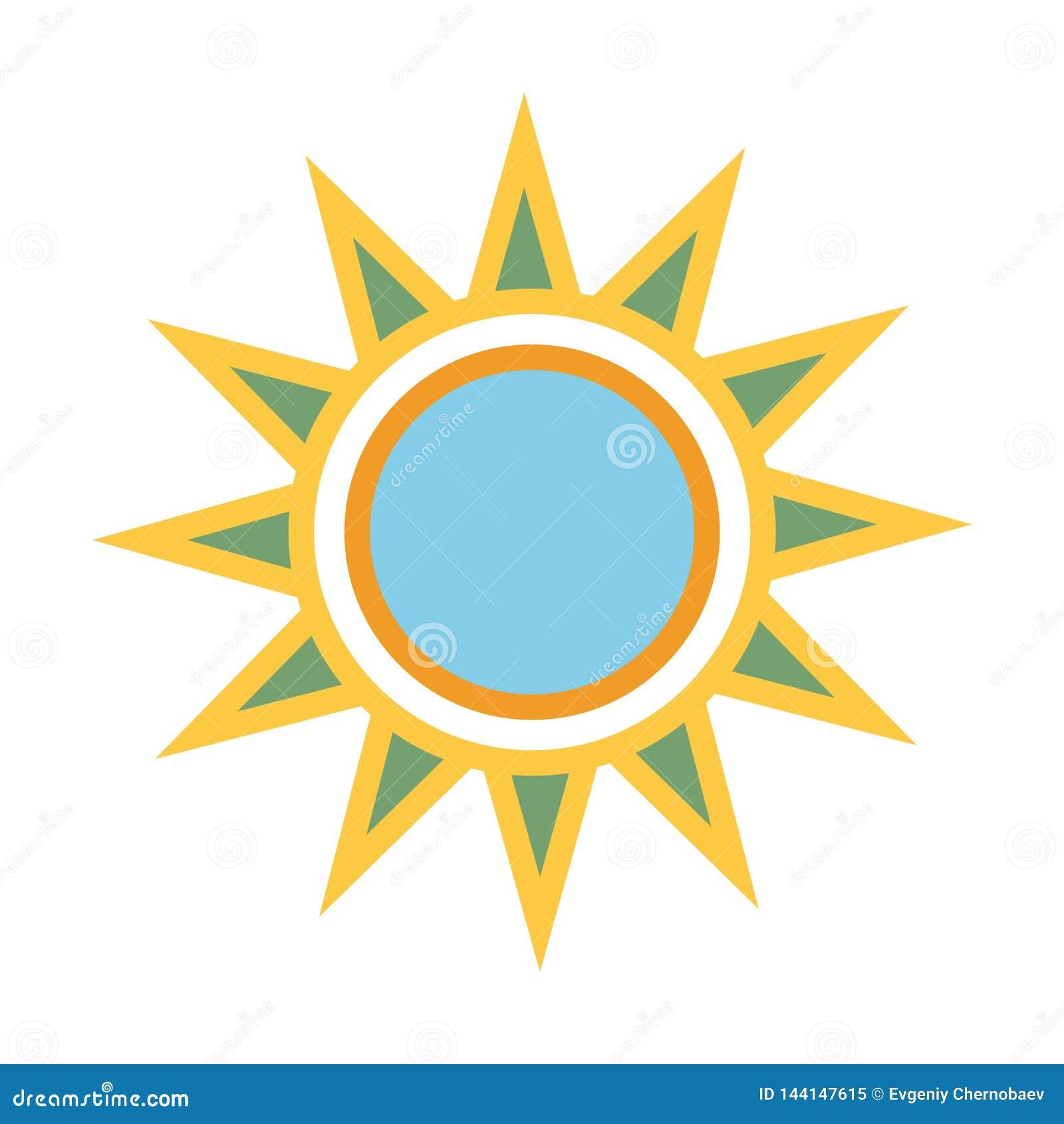 Языческий цвет Солнце с лучами Вектор eps10 значка солнца лета желтый знак солнца с голубой внутренностью круга