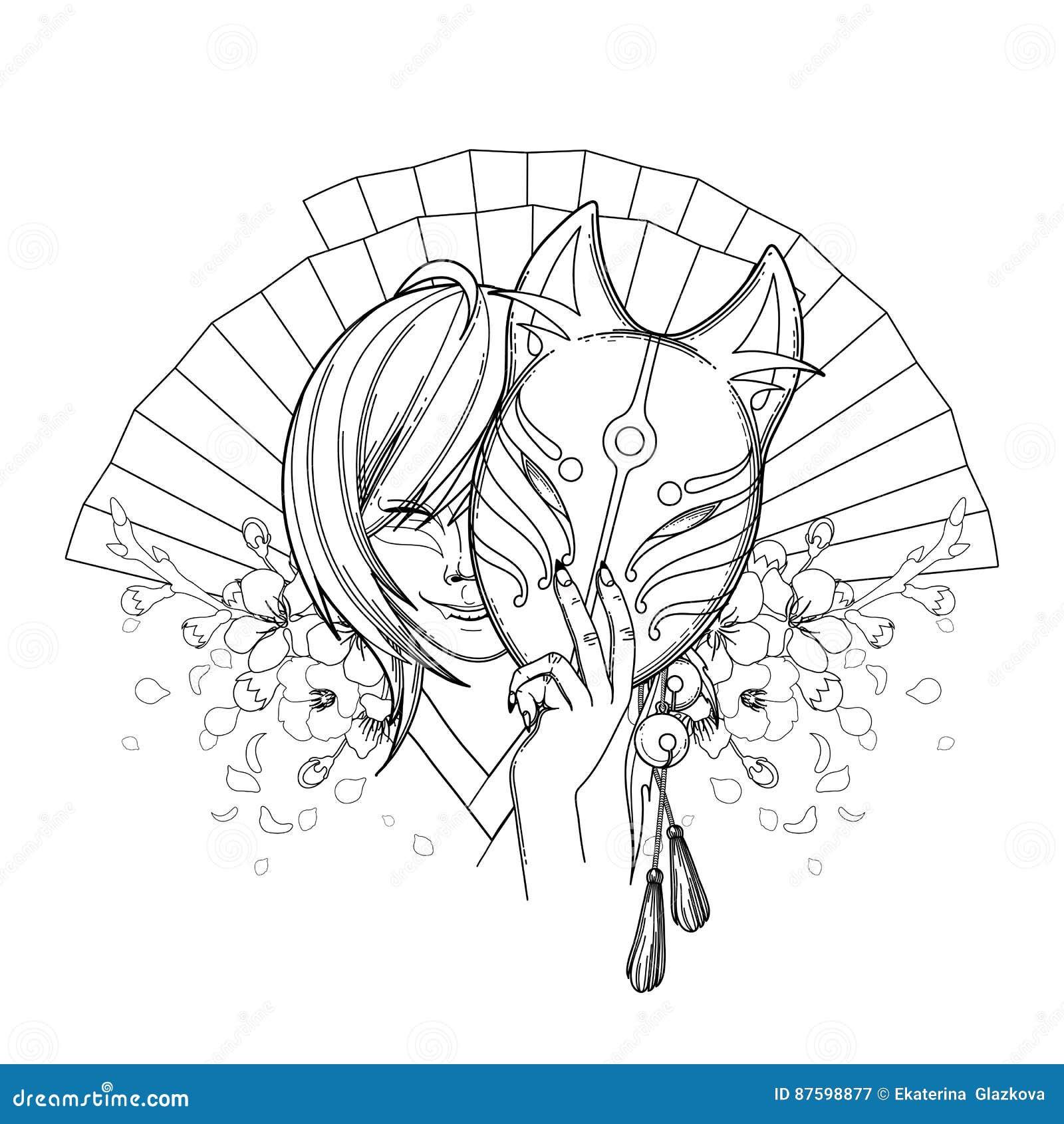 японская лиса демона иллюстрация вектора иллюстрации