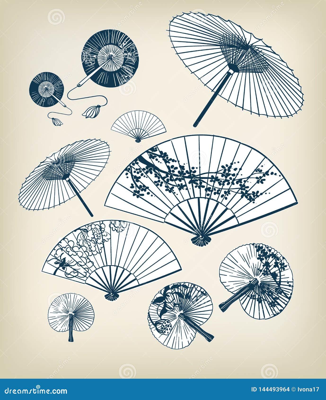 Японская традиционная иллюстрация вектора установила зонтики и потехи конструируют элементы