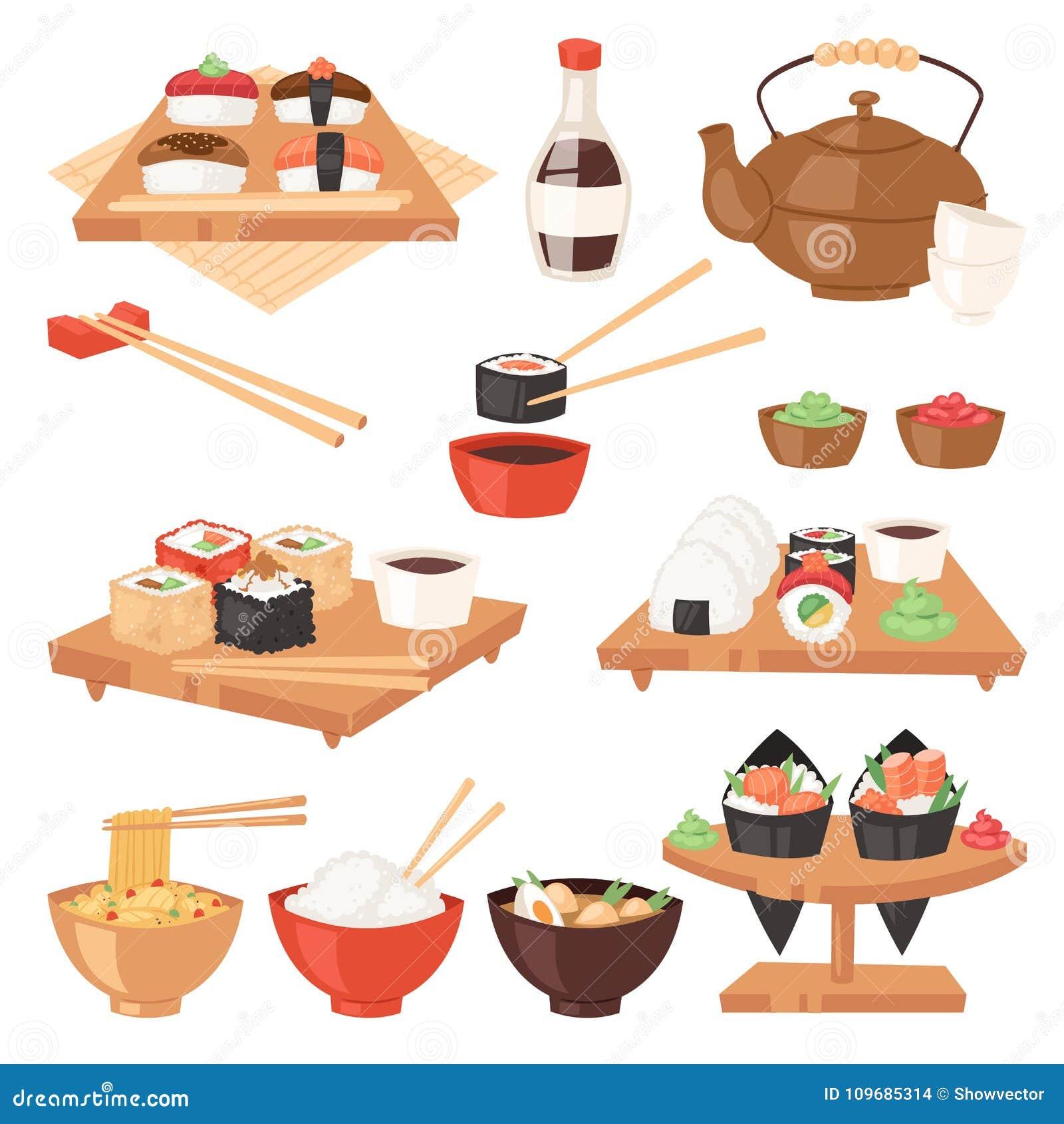 Японский вектор еды ест крен сасими суш или nigiri и морепродукты с рисом в иллюстрации ресторана Японии