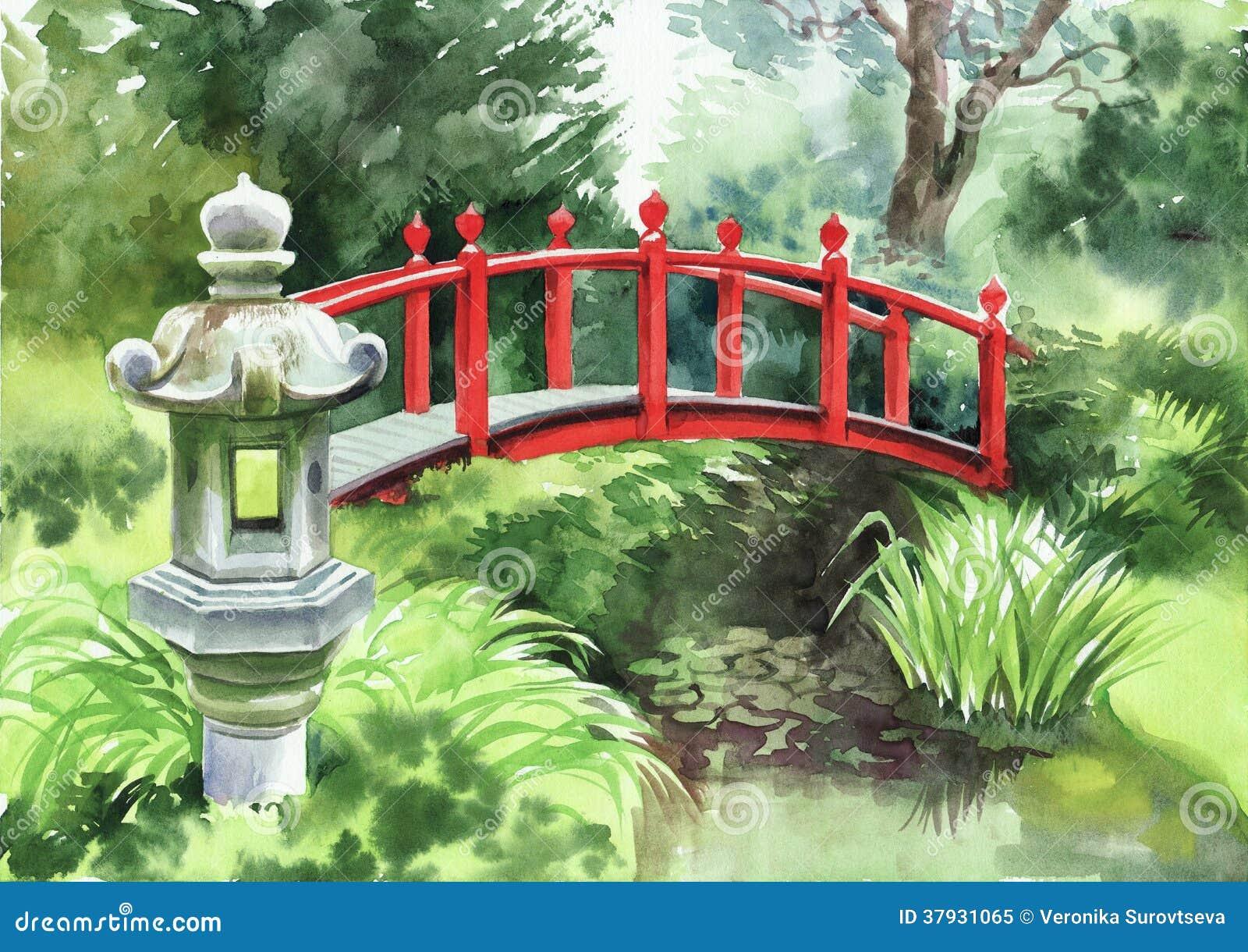 Японский сад с красным мостом