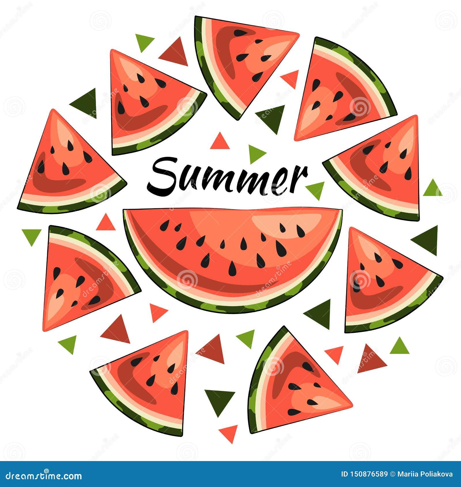 Яркая иллюстрация лета: сочные куски арбуза, надпись лета, треугольники