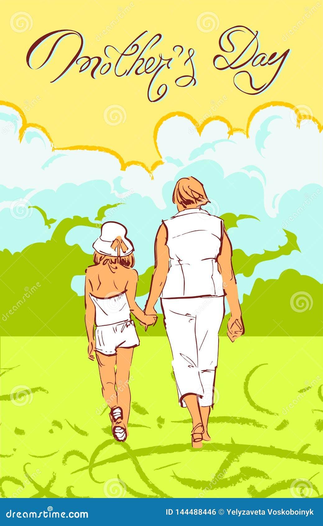 Яркая поздравительная иллюстрация вектора на день матерей
