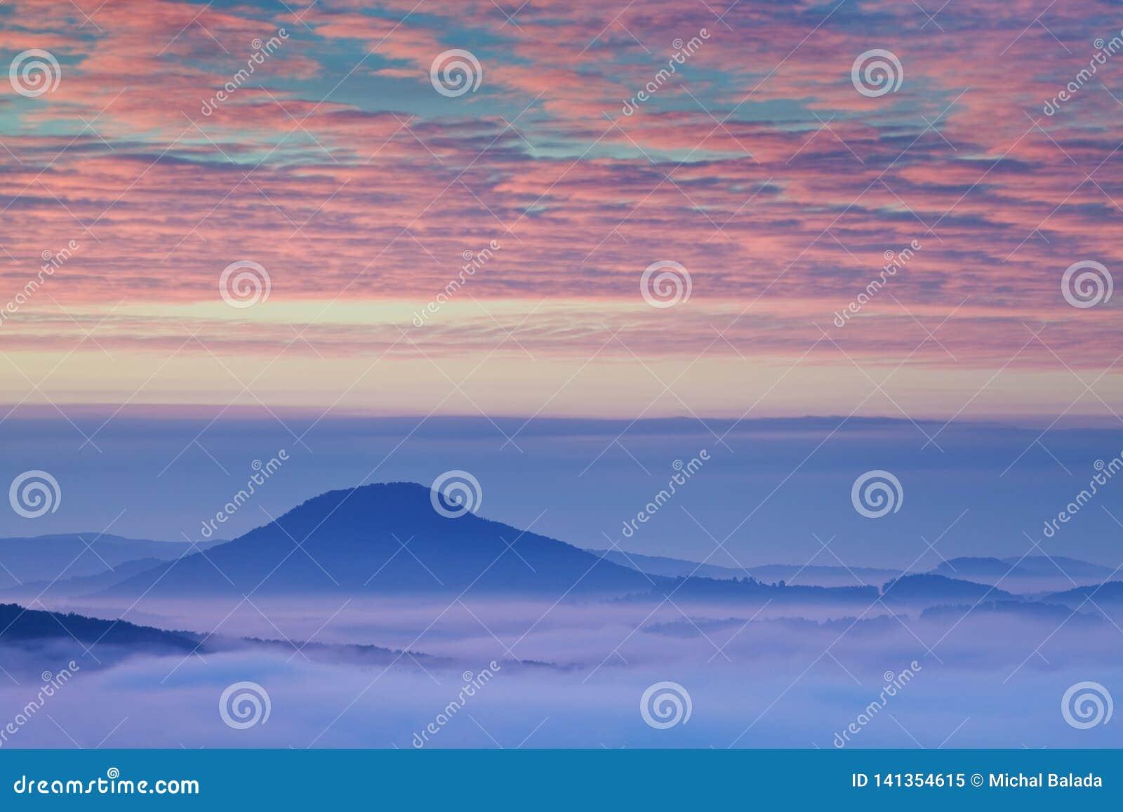 Яркая свертывая сельская местность в выравниваясь свете Живописный день и шикарная сцена весной приурочивают Прикарпатские горы,