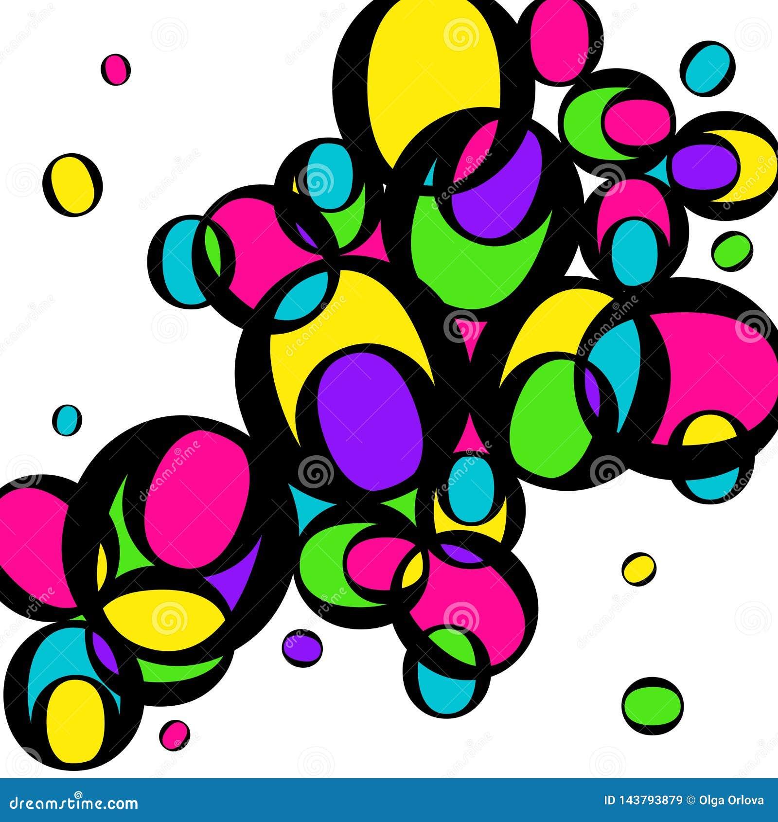 Яркие пестротканые круги Желтые, зеленые, розовые круги