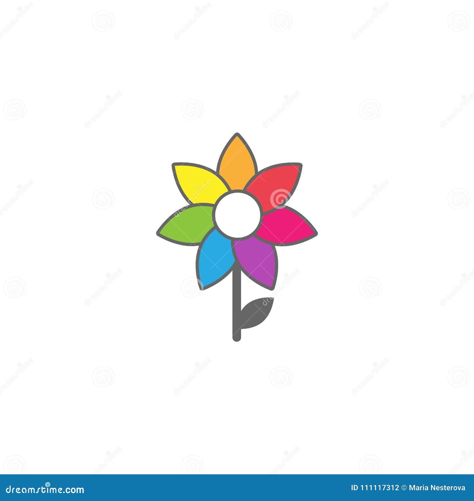 Яркий пестротканый солнцецвет с серым планом и меньшими стержнем и лист Плоский значок кровопролитное