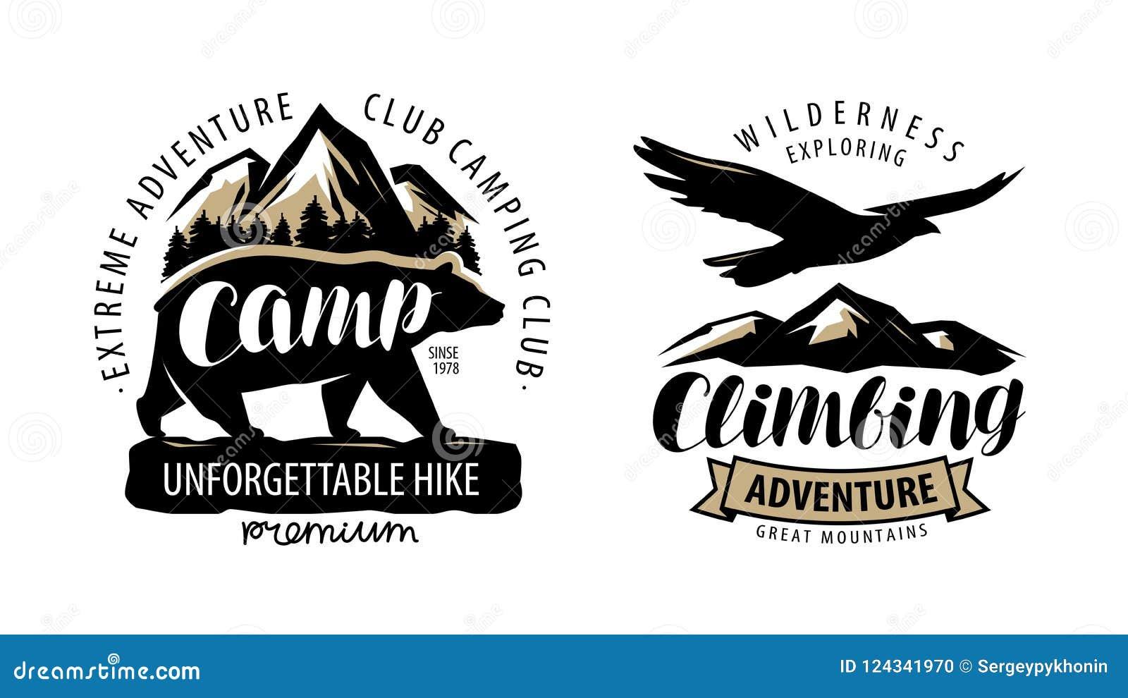 Ярлык располагающся лагерем, взбираться логотип или Поход, эмблема лагеря Винтажный вектор