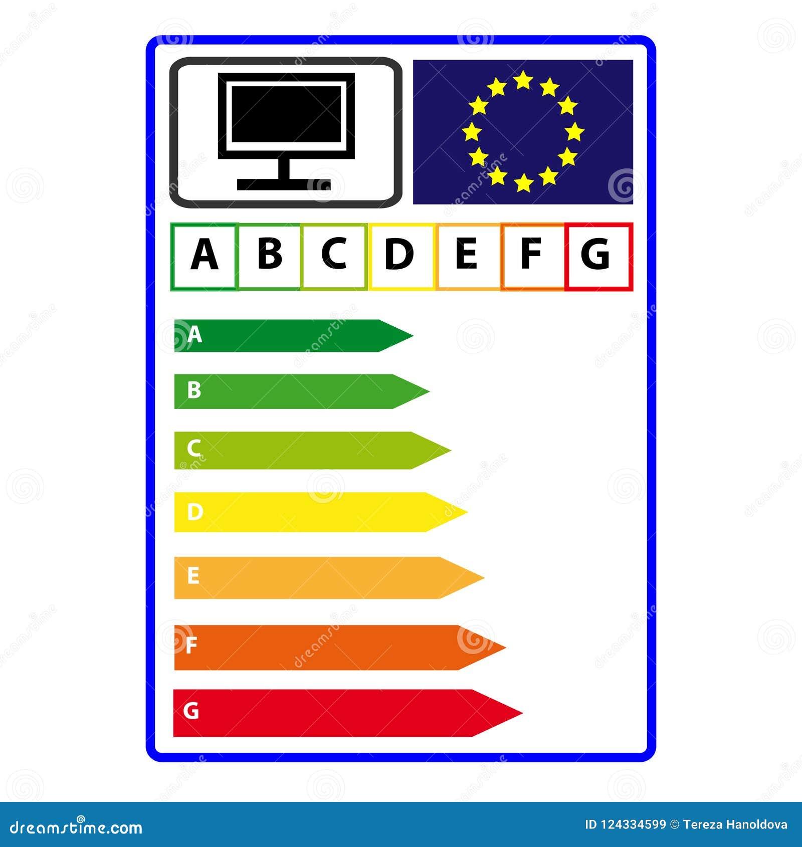 Ярлык efficience энергии для телевидения изолированного на белой предпосылке Вектор Illustartion