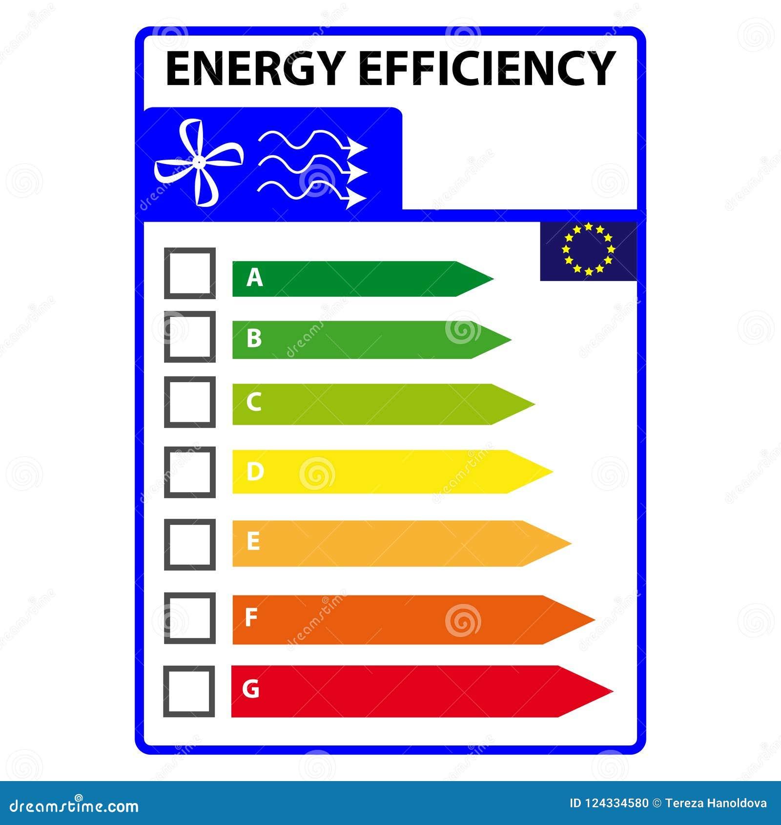 Ярлык efficience энергии изолированный на белой предпосылке Вектор Illustartion