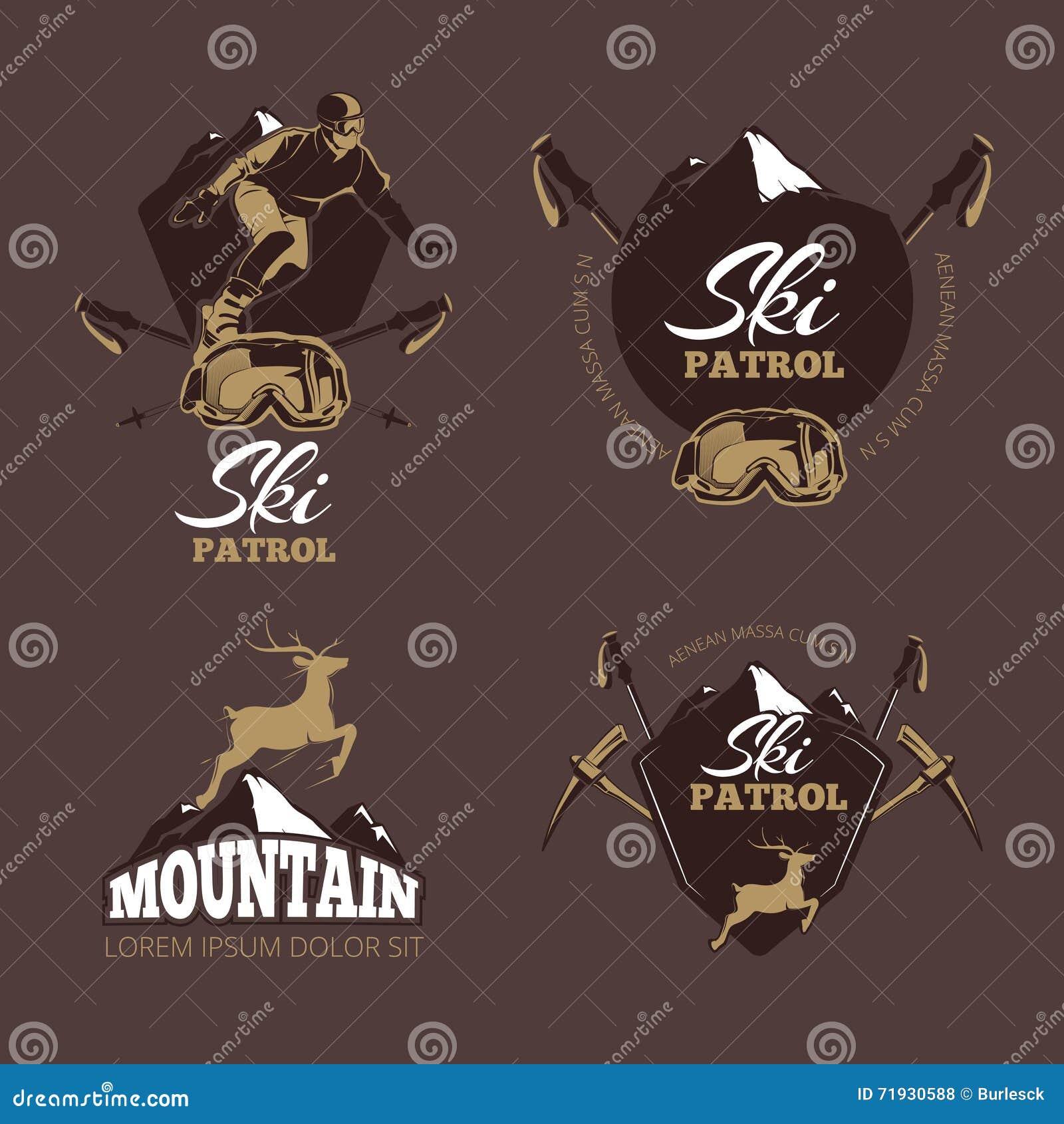 Ярлыки вектора цвета альпинизма Логотип года сбора винограда лыжного курорта