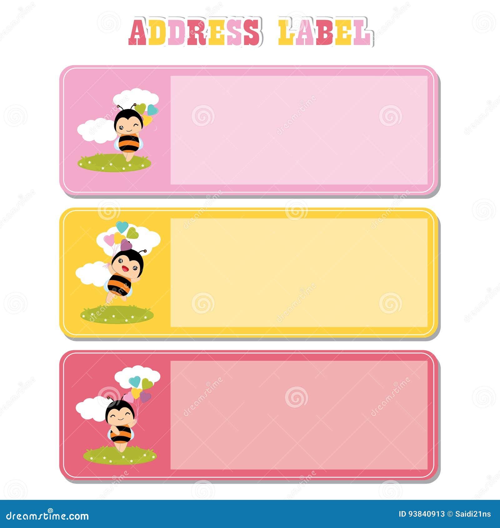 Ярлык адреса с милой пчелой на траве соответствующей для ярлыка адреса ребенк