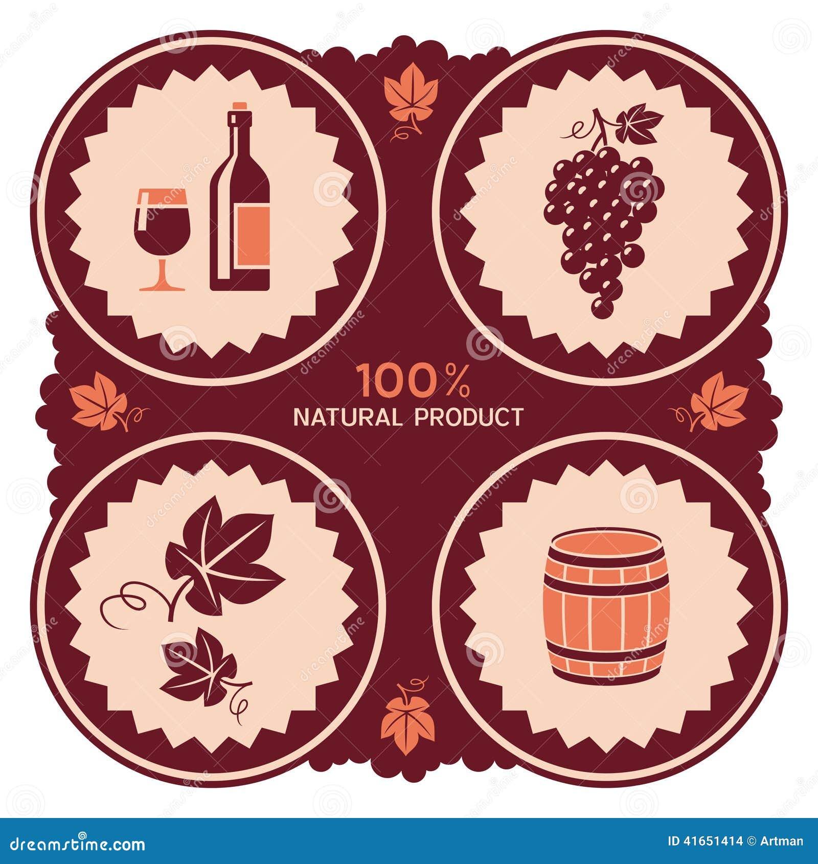 Ярлык вина с значками виноградины и бочонка