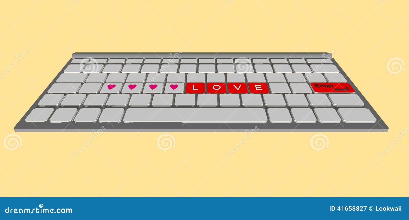 Ярлык влюбленности на современном компьютере клавиатуры