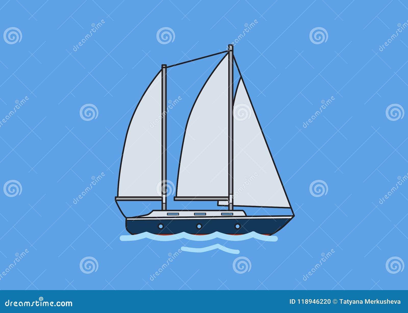 Яхта плавания 2 рангоутов, парусник Плоская иллюстрация вектора Изолировано на голубой предпосылке
