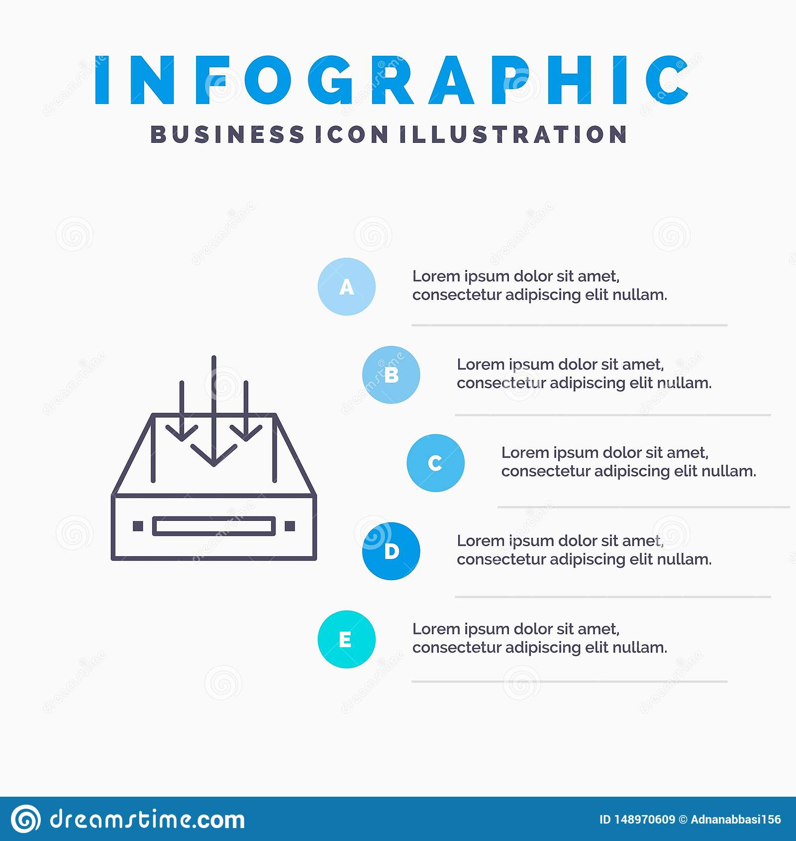 Ящик входящей почты, почта, коробка, контейнер, доставка, линия значок пакета с предпосылкой infographics представления 5 шагов
