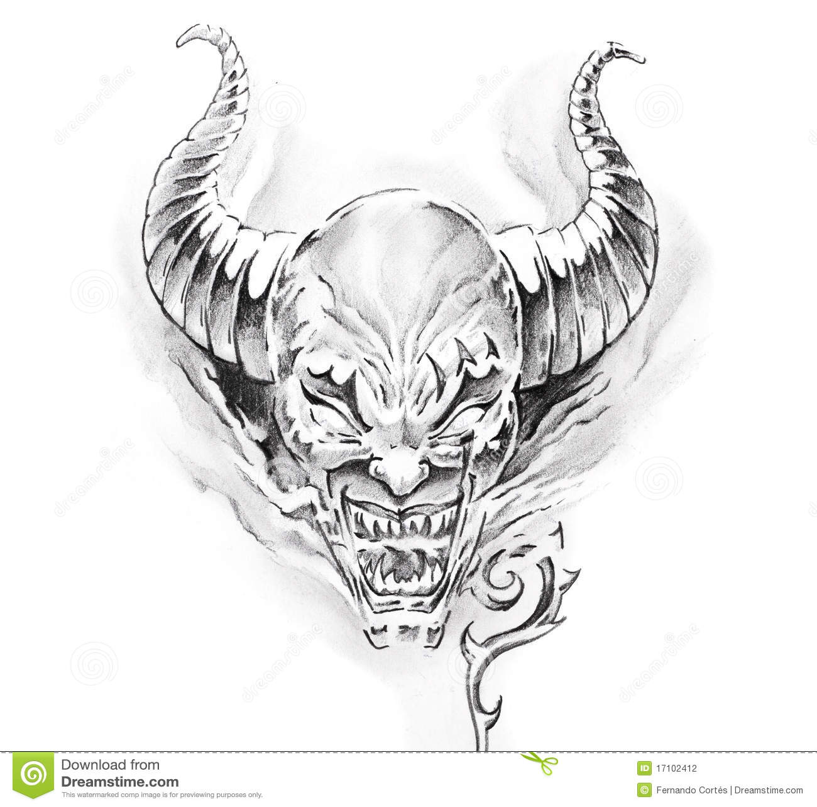 艺术恶魔垫铁草图纹身花刺.