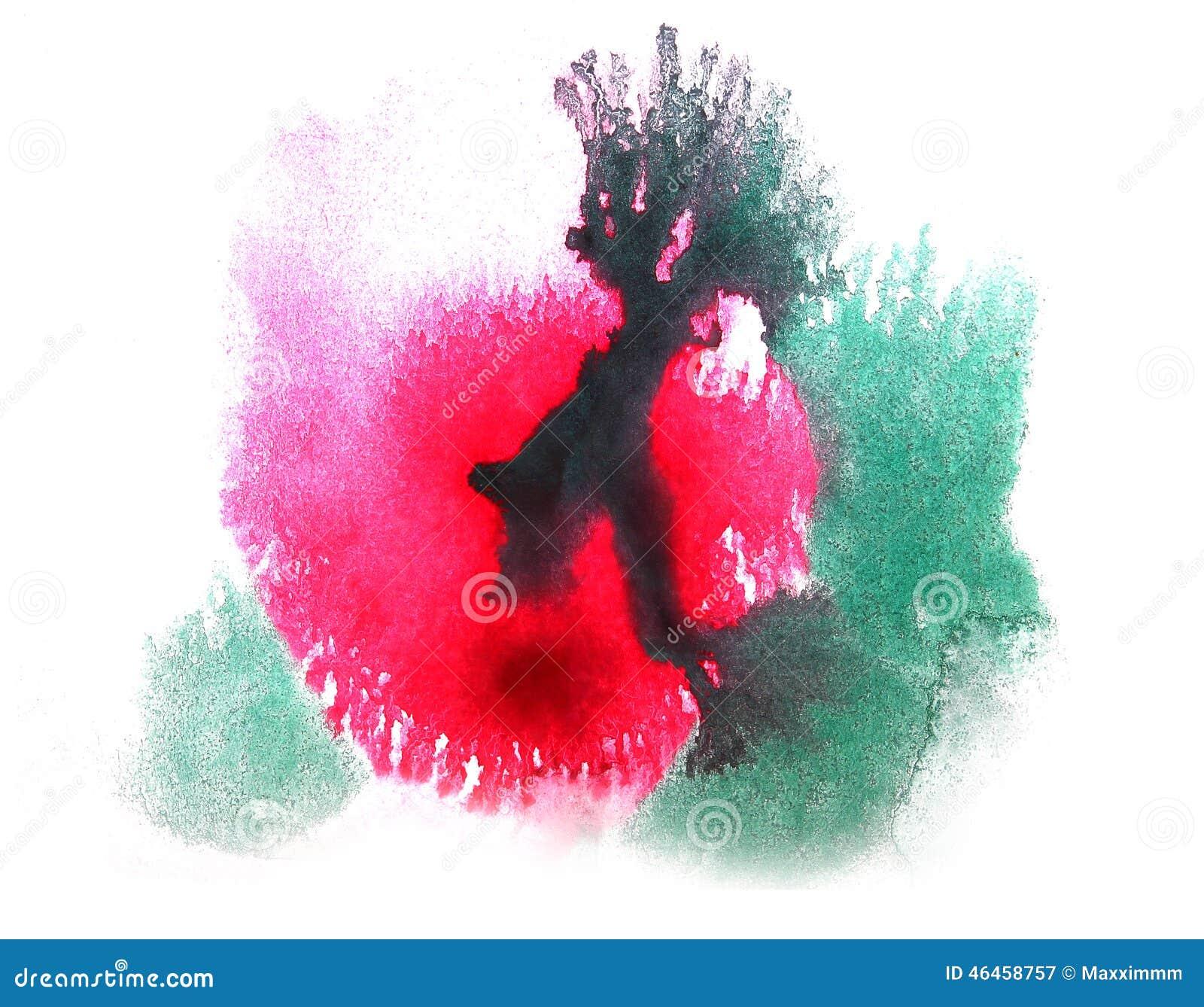 艺术水彩红色墨水的油漆图片
