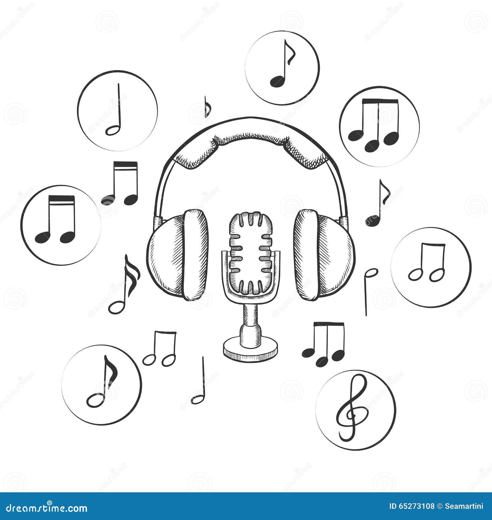 与与音乐笔记的圆象和耳机的音乐,声音和娱乐剪影围拢的话筒.图片