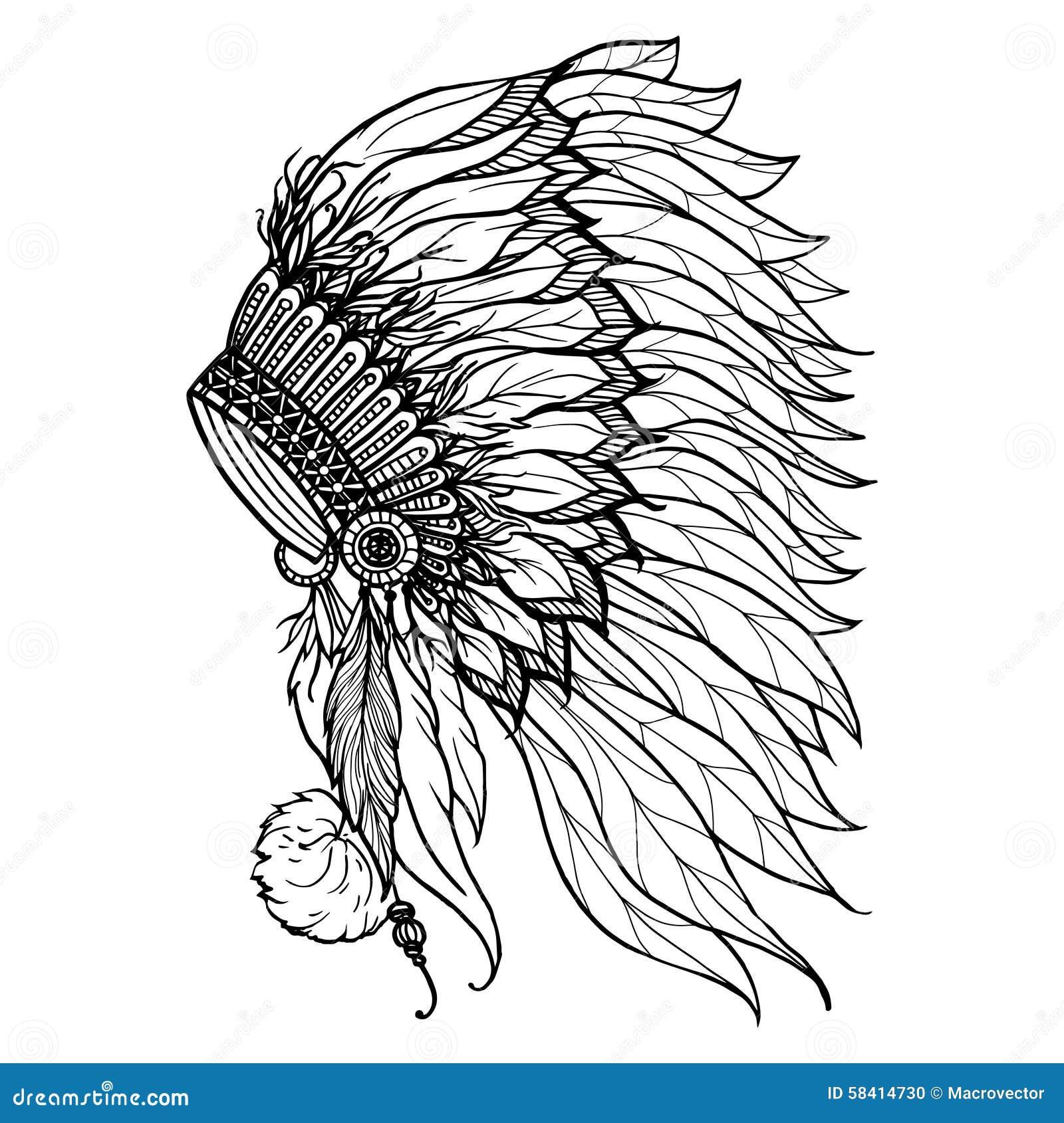 印第安酋长的乱画头饰图片