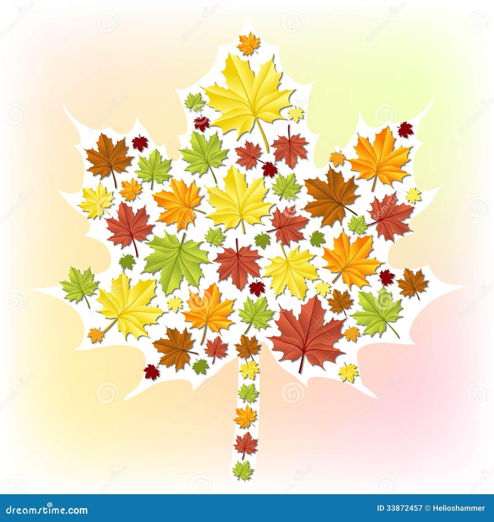 由小叶子贴纸做的秋天叶子