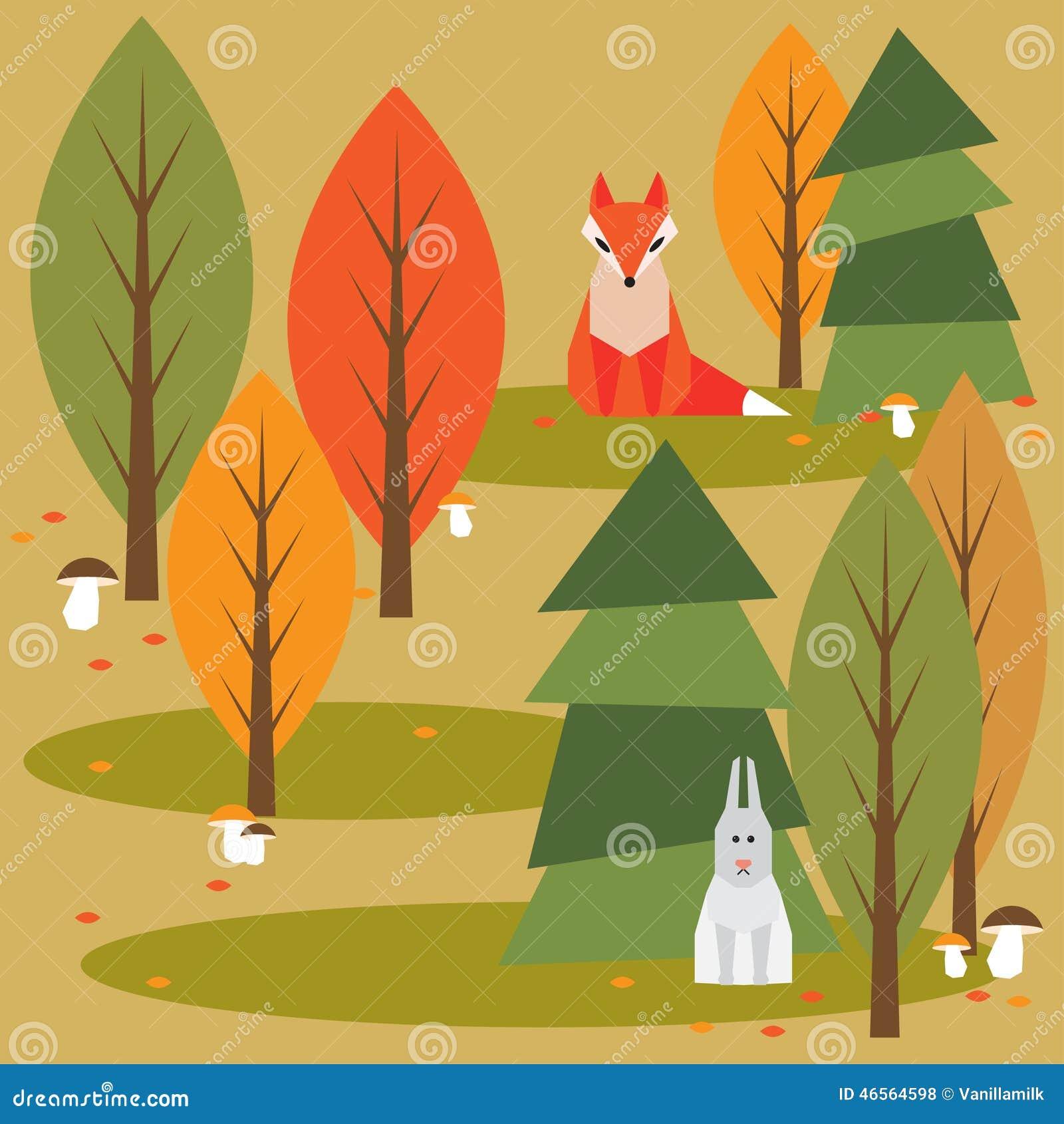 色的动画片秋天森林
