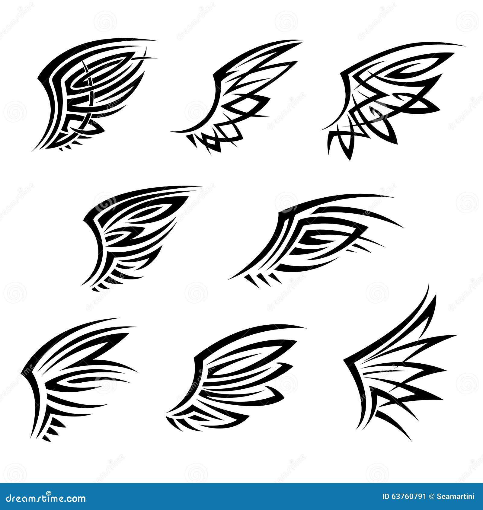有抽象装饰羽毛的黑部族翼 设计纹身花刺,t恤杉印刷品或者象征的元素.