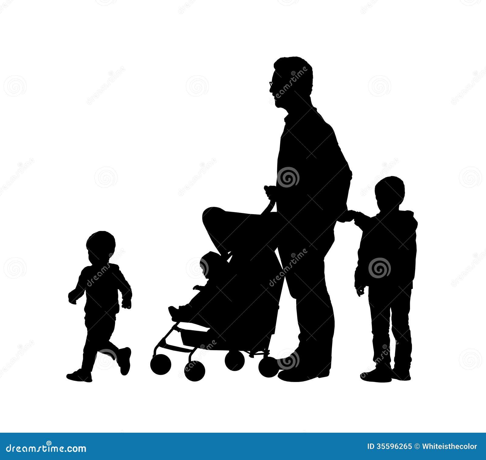 有他的三儿童剪影的父亲