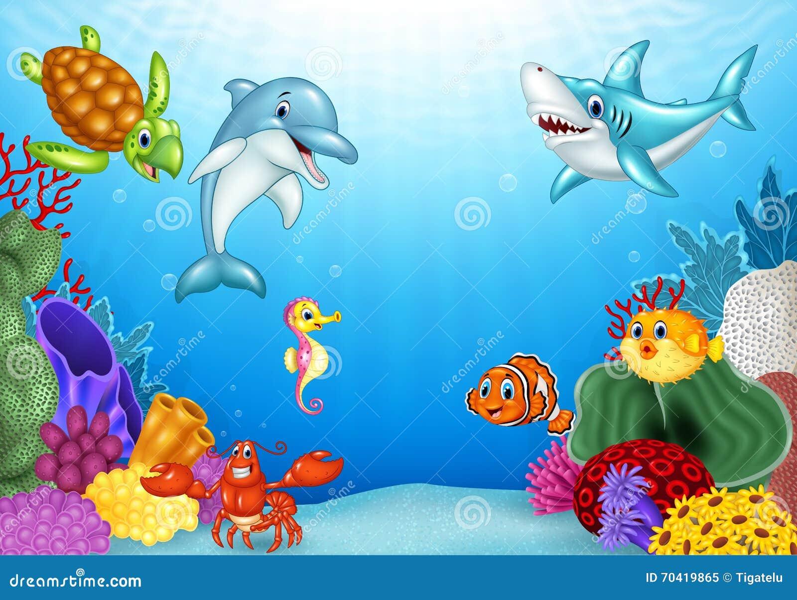 与美丽的水下的世界的动画片热带鱼图片