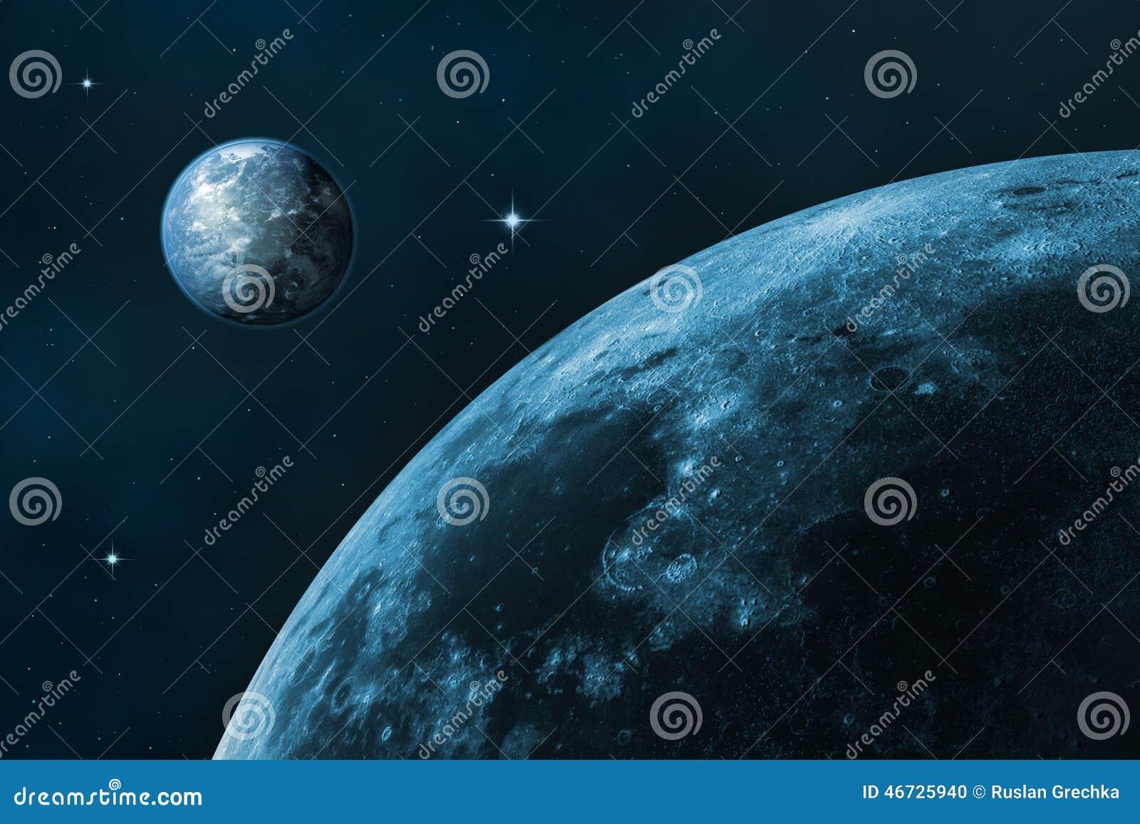 空间风景(地球和月亮)