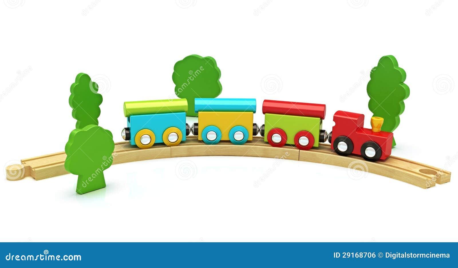 在白色背景隔绝的木玩具火车