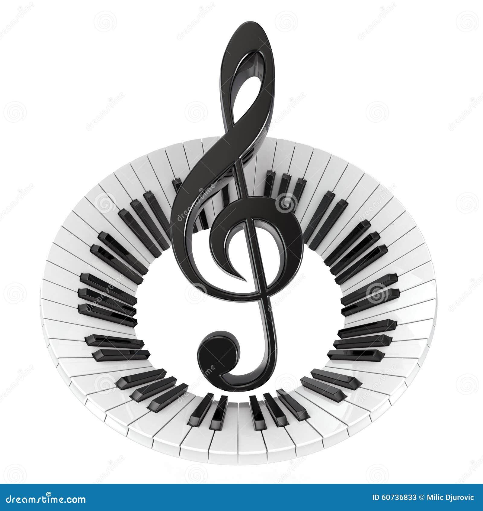 在抽象琴键的高音谱号
