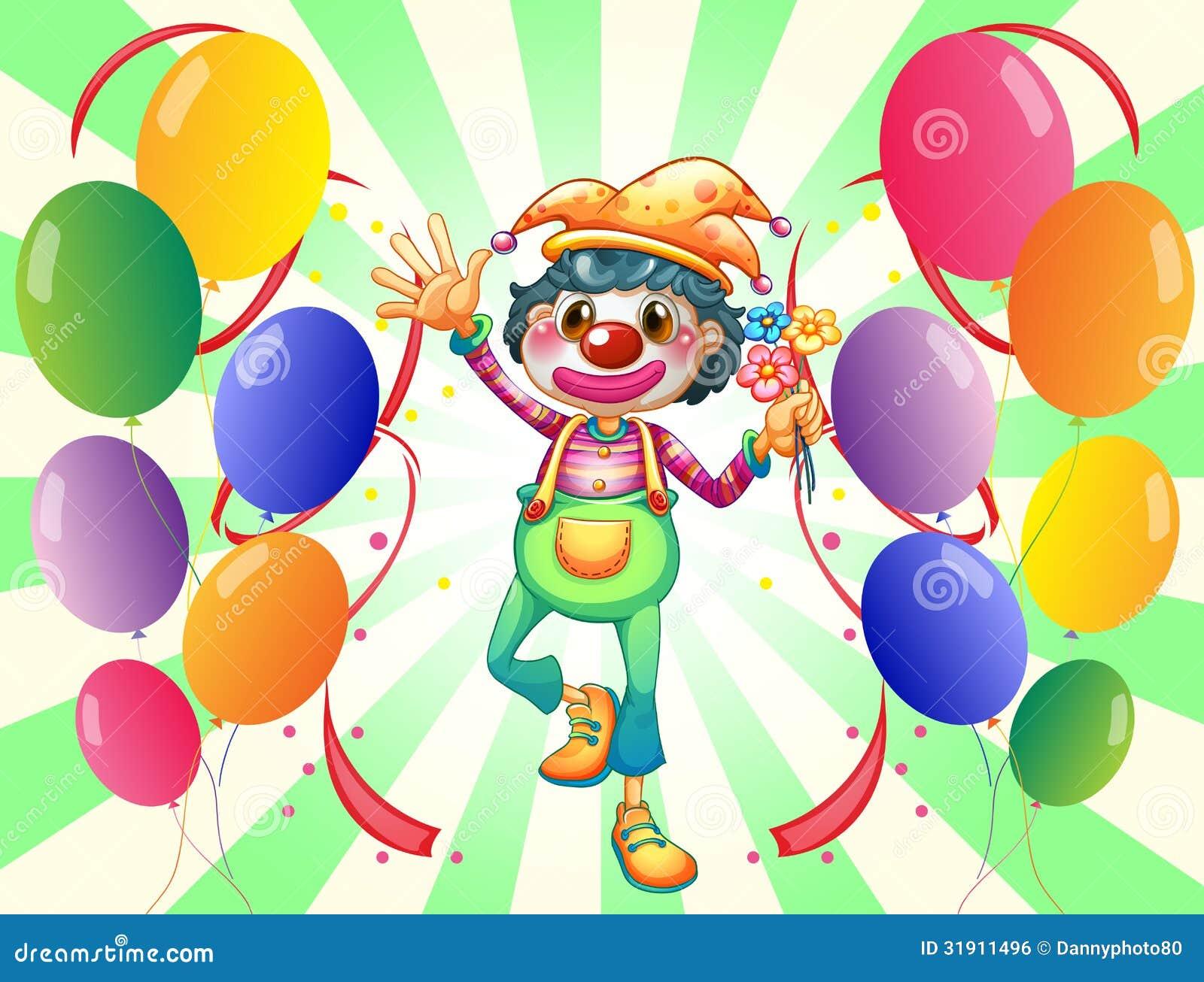 在气球中间的一个女性小丑