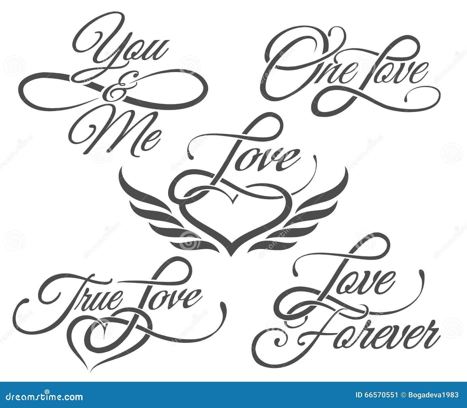在纹身花刺样式的爱字法