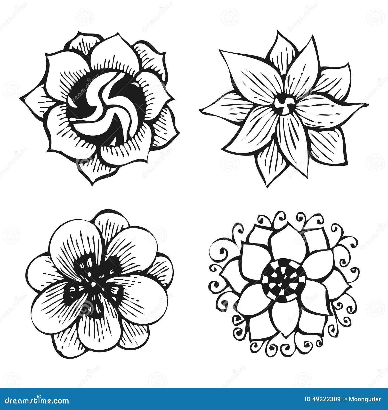 花卉乱画的花在纹身花刺样式,仅黑等高,传染媒介例证设置了.