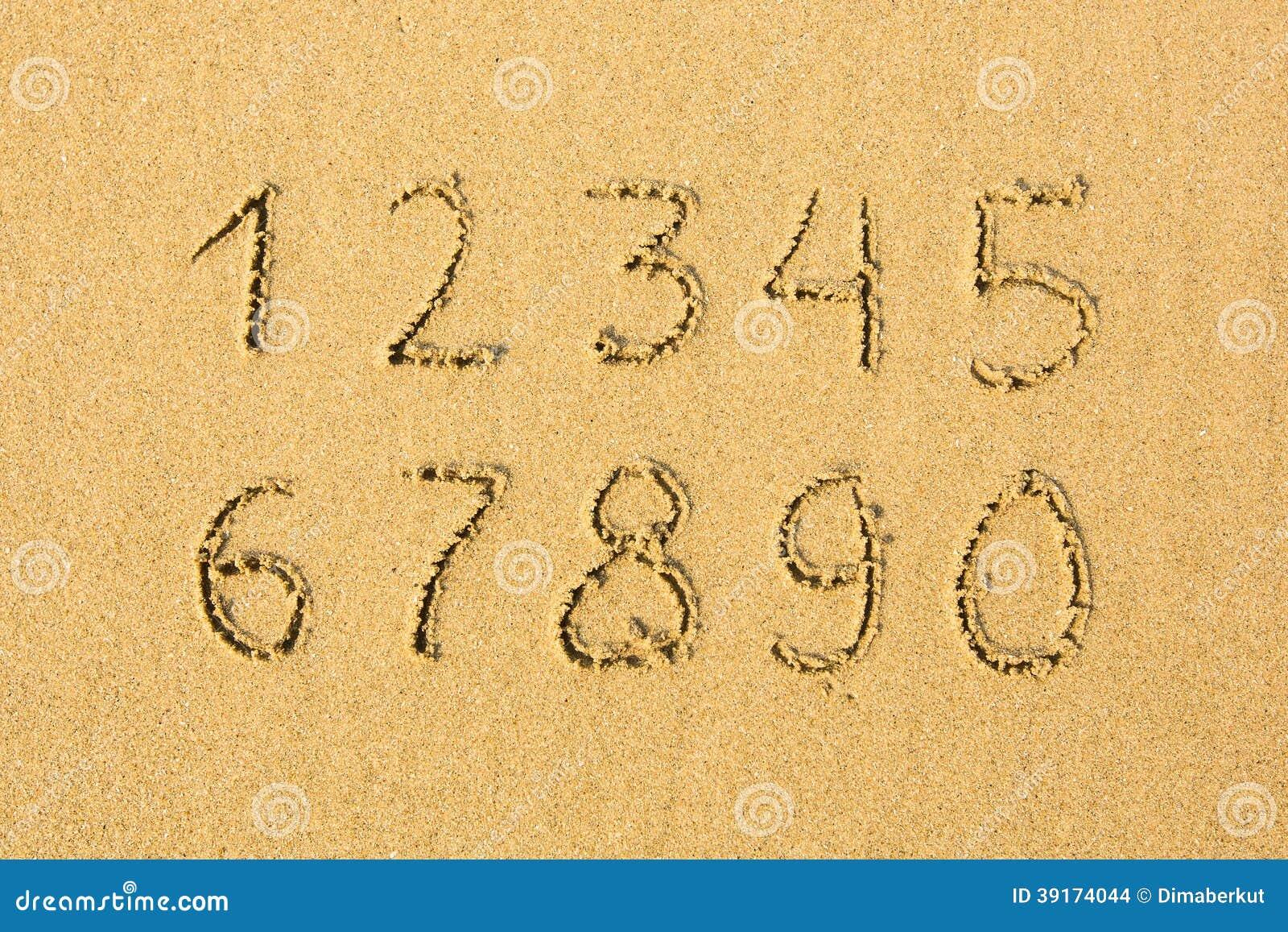 在一个沙滩写的数字 教育图片