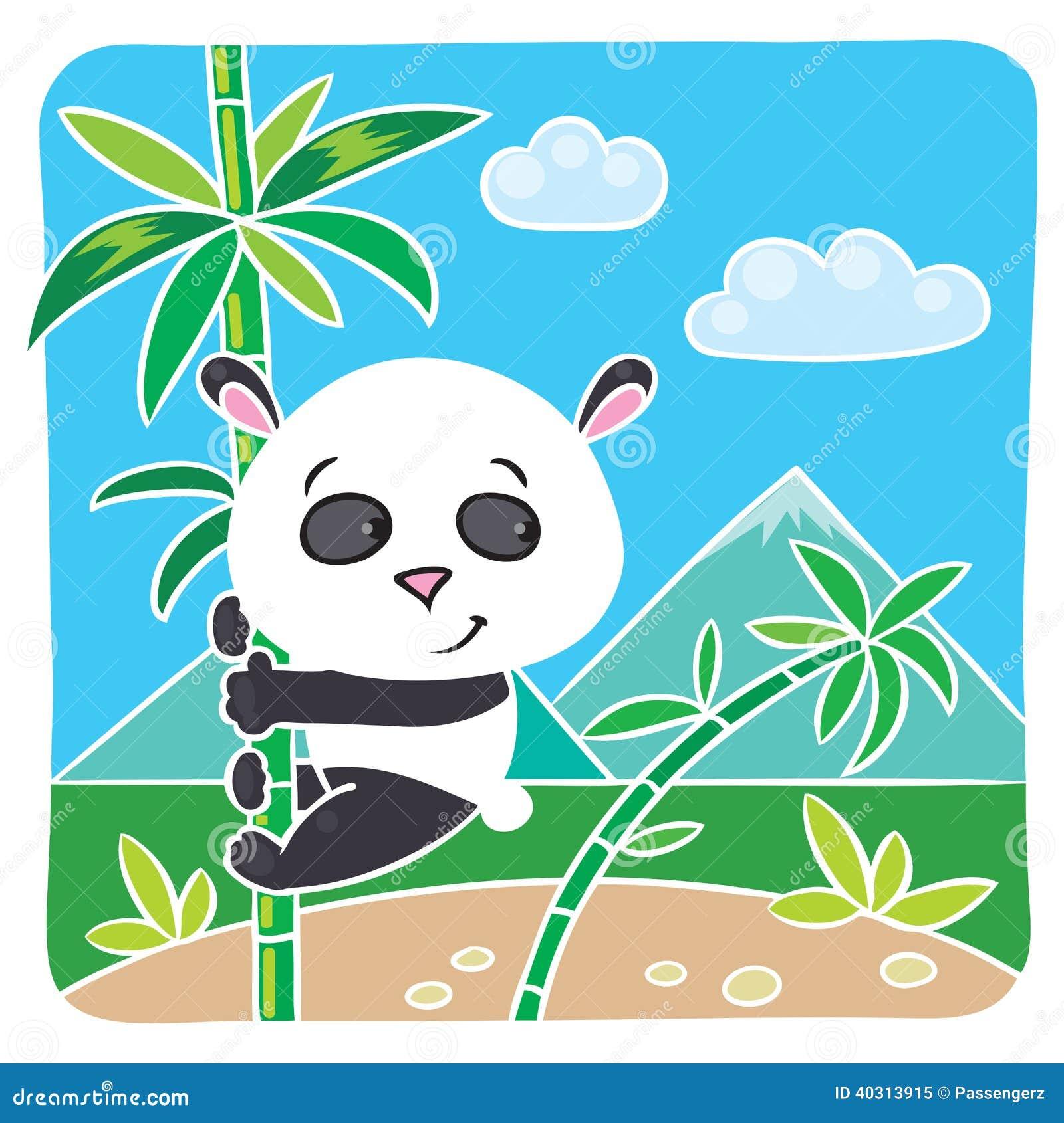 在竹子的小熊猫 向量例证