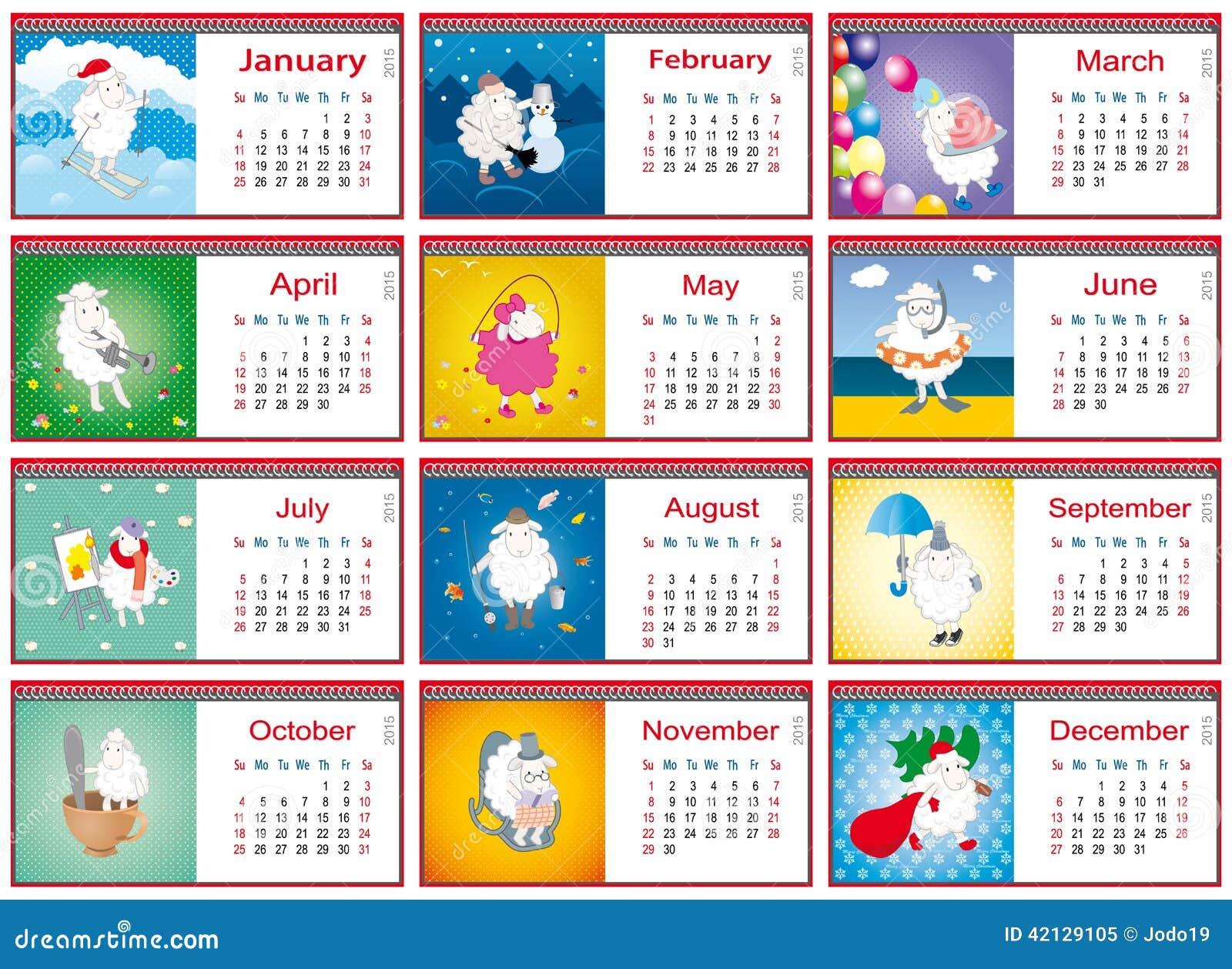 在2015年日历为每个月与活跃绵羊